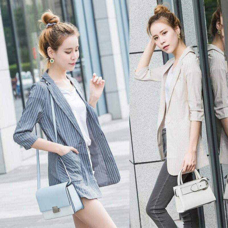 2019 Nova Summer Fashion Mulheres Blazer Versão Coreana Meados de Estilo Longo Blazers Slim Fit Jaqueta