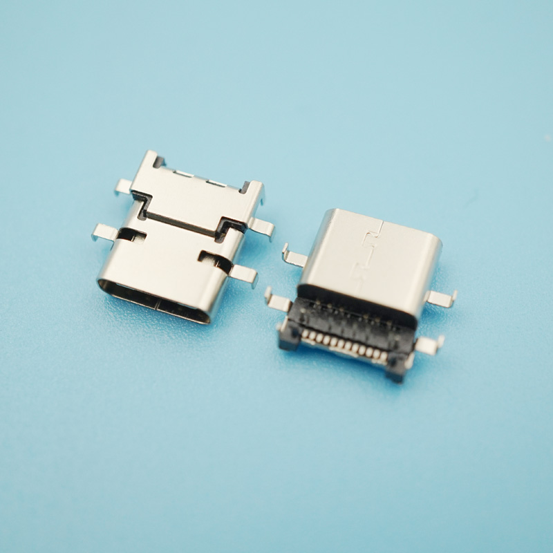 30pcs/Lot 24Pin USB Female Connector 3.1 Type C 1.98mm Pitch 12-15mm Spacing Sink Plate 4 DIP 90 Degree USB Socket
