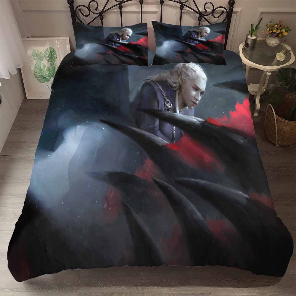 3 Pieces Game of Thrones Bedding Set 3D Printed Daenerys Targaryen Driving Dragon Printed Red Black