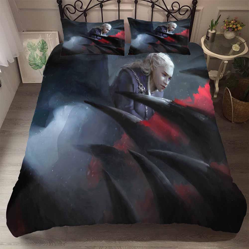 3 pièces jeu de trônes ensemble de literie 3D imprimé Daenerys Targaryen conduite Dragon imprimé rouge/noir/violet garçons housse de couette ensemble