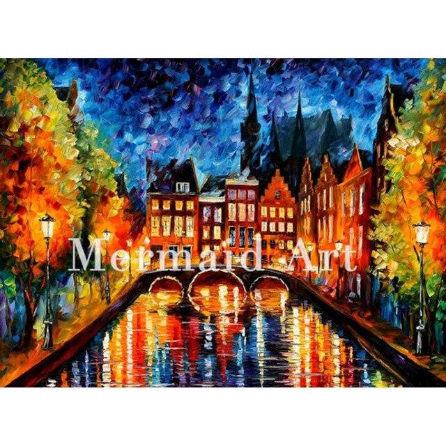 Moderne Kunstwerke handgemalte paletten messer kunst amsterdam kanal moderne