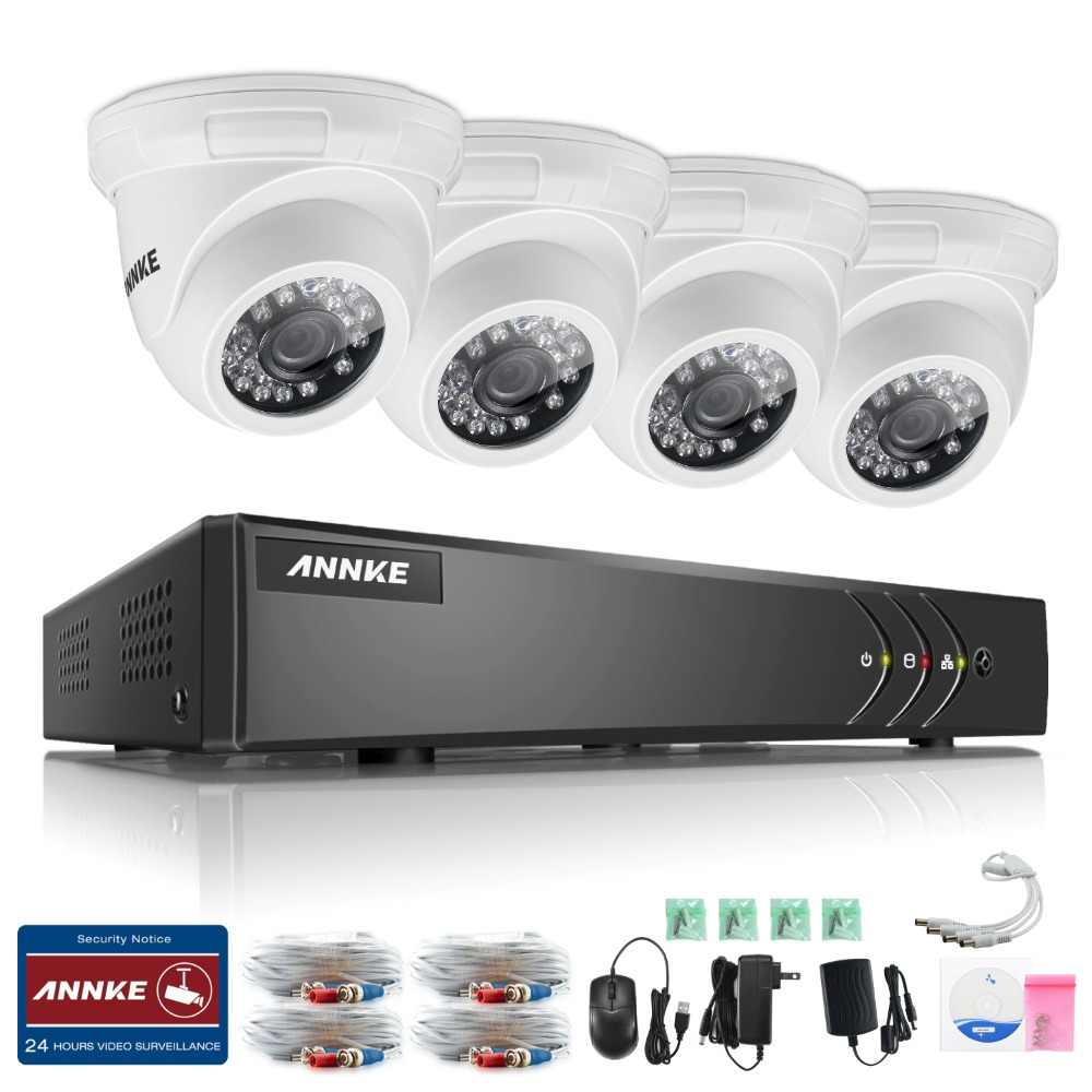 ANNKE 4CH CCTV System HDMI AHD TVI CCTV DVR 4PCS IR Outdoor Security Camera 1 0MP