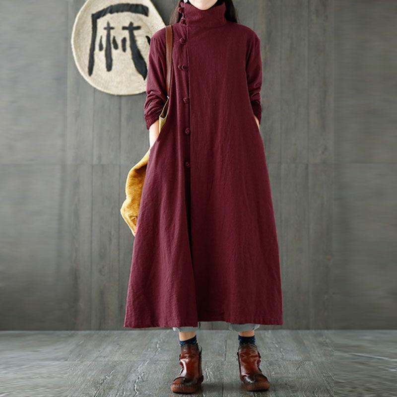 M-5XL Zanzea Women Elegant Turtleneck Long Sleeve Pockets Long Coat Jacket Solid Cotton Linen Buttons Windbreaker Plus Size