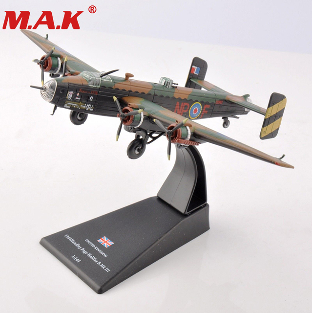 US $17 6 7% OFF|1/144 scale WWII royal air force bomber UK 1944 handley  Page Halifax B Mk III fighter Army airplane air craft toy Alloy model-in