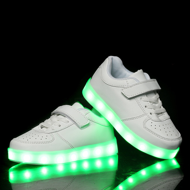 Eur 25-35 Kids Sports Sneakers LED Shoes For Kids 2016 Charging Luminous Lighted Colorful LED Lights Children Sports Shoes AG12