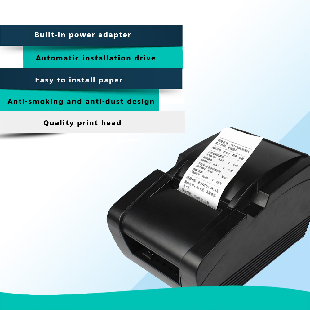 US $48 0 |58mm Thermal Printer Receipt Machine Printing Speed 78mm/s  USB+Bluetooth Support Android and IOS APP System-in Printers from Computer  &