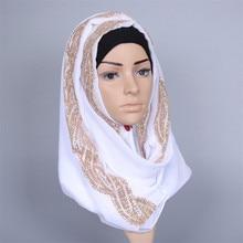 Islamic Chiffon Womens Scarf Hijab With Gold Diamonds High Quality Turban Muslim Long Hoofddoek