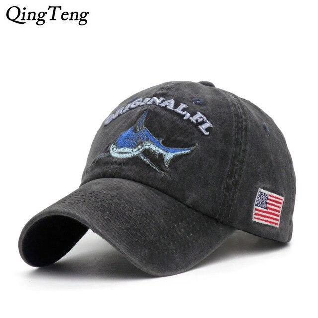Vintage Dicuci Denim Cap Snapback Bordir Hiu Topi Bisbol Pria Outdoor  Memancing Topi Katun Kasual Perempuan 659cc21131