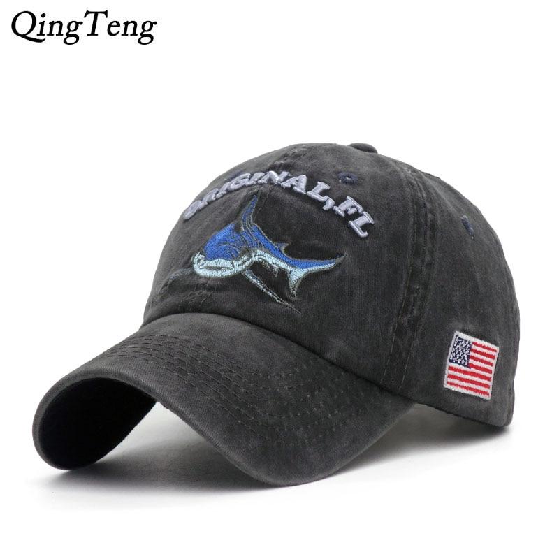 Vintage Washed Denim   Cap   Snapback Embroidered Shark   Baseball     Caps   Men Outdoor Fishing   Cap   Cotton Casual Female Hat Dad Bone