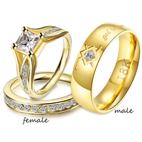 Stainless Steel Couple Rings Set Couple Cubic Zirconia Gold Luxury Ring Set for Girl Godly Jewels Lord of the Ring Statement