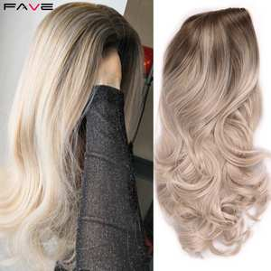 Image 2 - FAVE Ombre Light Brown Ash Blonde Wig Long Wavy Heat Resistant Fiber Synthetic Hair 20 Inch Wig for Black Women Cosplay Party