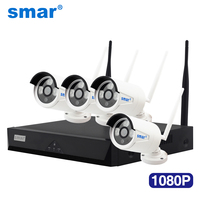 Smar 1080P 4CH Wireless NVR CCTV System 2.0MP IR Bullet IP Camera Outdoor Security Video Surveillance Kit Plug and Play Hot