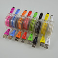Colorful Retractable LED Light Micro USB Cable with Smile Face Charging Cable For iPhone se 6 6s Samsung S6 Note 5 Andriod Phone