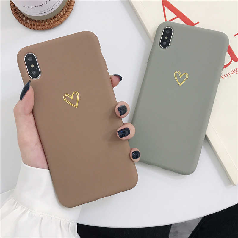 Funda de teléfono LOVECOM chapada en corazón para iPhone 11 Pro Max XR XS Max 6 6S 7 8 Plus X Color caramelo Simple suave de silicona TPU
