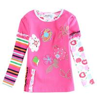 kids girls t shirt children clothing embroidery colorful cotton long sleeve t-shirt for baby girls in spring/autumn enfant