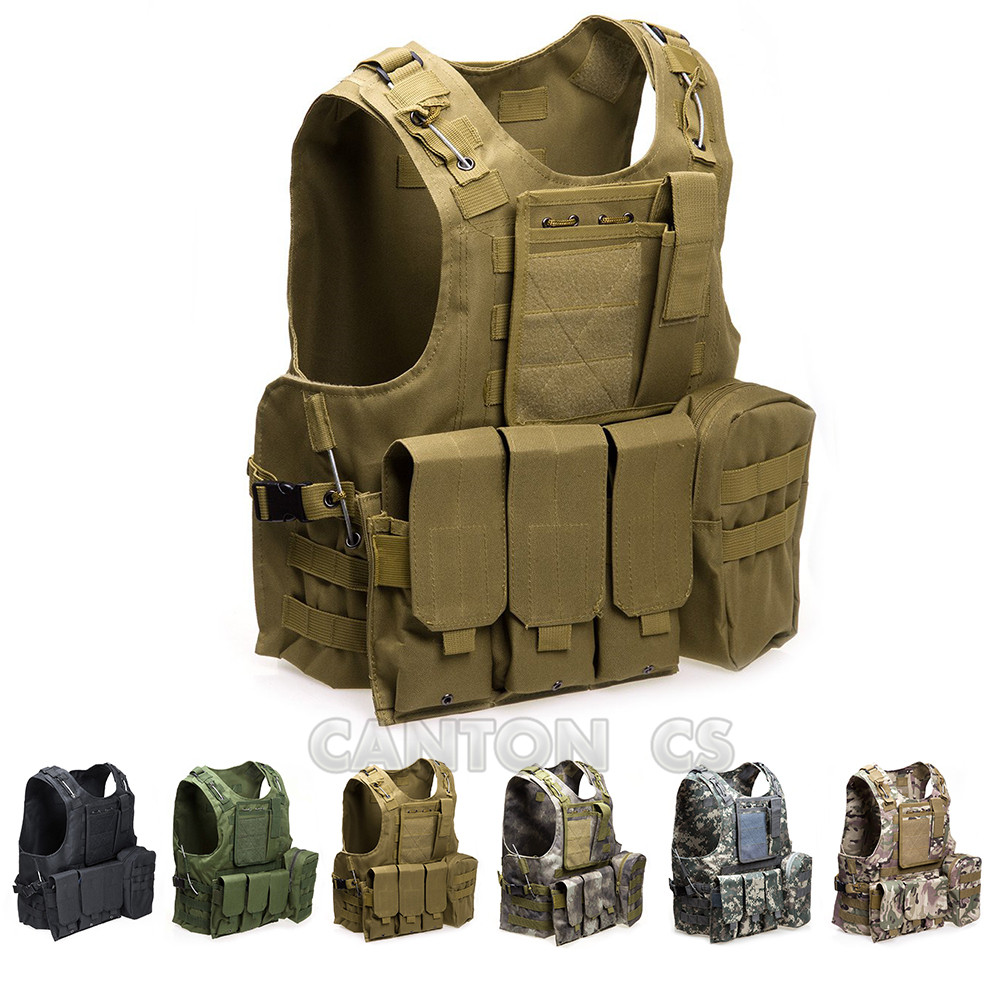 Airsoft Military Tactical Vest Molle Combat Assault Plate Carrier CS Outdoor Clothing Hunting Waistcoat With Mag Pouchs 7 Colors