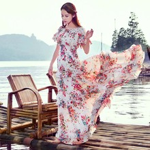 Summer New Upmarket Fashion Temperament Super Sweet Fairy Princess Cake Big Pendulum Fairy Long Dress