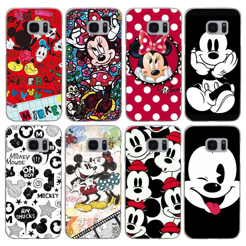 G77 Christmas Mickey Minnie Transparent Hard PC Case Cover For Samsung Galaxy S 3 4 5 6 7 8 Mini Edge Plus Note 3 4 5