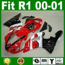 OEM заменить Обтекатели Fit для Yamaha YZF R1 2000 2001 год Модель Красный Белый YZFR1 00 01 Кузов обтекателя Комплект запчастей y6x3