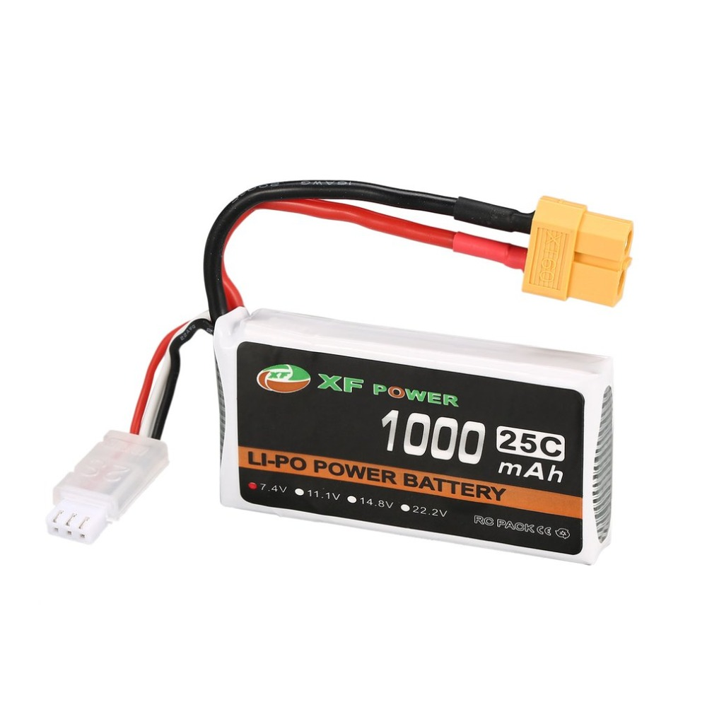XF POWER 7.4V <font><b>1000mAh</b></font> 25C <font><b>2S</b></font> 2S1P <font><b>Lipo</b></font> Battery XT60 Plug Rechargeable For RC FPV Racing Drone Helicopter Car Boat Model image