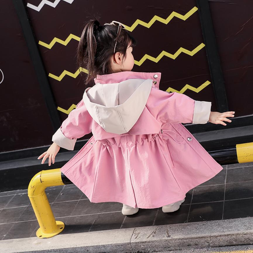 Girls Windbreaker Jacket 2019 Autumn New Children Hooded Spliced cotton   Trench   Coat Outerwear modis Kids Clothing Jacket Y1618