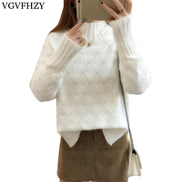 New 2018 Winter Women Sweater Long Sleeve High Elastic Knitted Pullovers Sweater Women Turtleneck Autumn Sweater