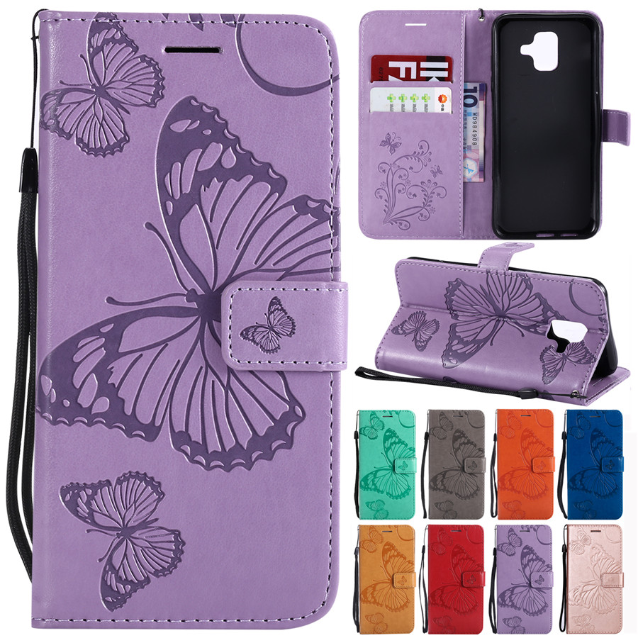 A6 Plus 2018 Case on for Coque Samsung Galaxy A6 Plus 2018 Cover for Samsung A6 2018 Case Leather Butterfly Wallet Phone Cases