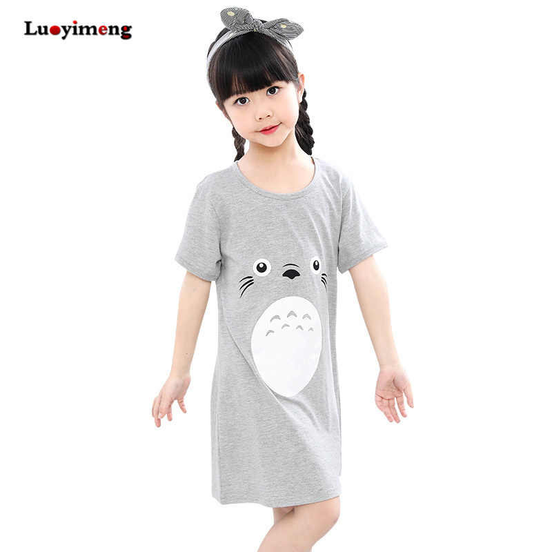 ea5783a74d Totoro Cotton Nightdress Little Teen Girls Pajamas Dresses Children Cartoon  Summer Nightgown Home Clothes Kids Sleepwear