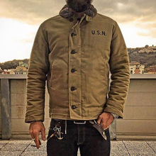 цена на 2019 NON STOCK Khaki N-1 Deck Jacket Vintage USN Military Uniform For Men N1
