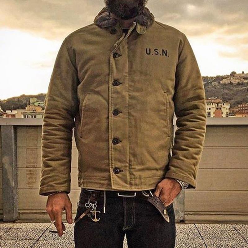 Olmayan stok haki N-1 güverte ceket Vintage USN askeri üniforma erkekler için N1