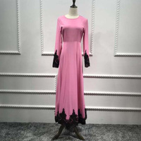 Women Maxi Dress Muslim Floral Lace Embroidery Gown Kaftan Abaya Dubai Islamic Clothing Robe Morocco Long Sleeve Party Dresses