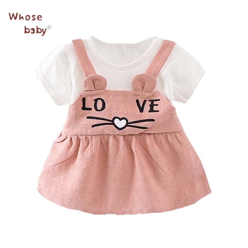Baby Clothing Dresses Summer Lovely Dress for Girls Cute Cat Printed Newborns Clothes Suspender Baby Party Clothes For Children