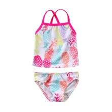 2018 Brand New Toddler Infant Child Baby Girls Kid Small Pineapple Swimmer Bather Swimwear Bathing Summer 2Pcs Set Tankini 6M-5T