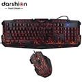 Teclado ruso combo ratón LED retroiluminada de led 3 color diapasón + colorido de ratón de juego respirar luz 7 botones 3600 DPI