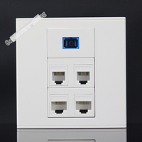 Wall Socket Plate 5 Ports 2 Ports Network LAN CAT5 RJ45 2 Port RJ11 Telephone Phone