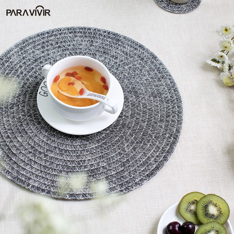 Vintage Style Placemat Round Polyester Table Mats&Pads PVC Woven Tableware Mats Kitchen Accessories Dining Bar Decor Coaster ...