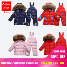2018 Russia Winter Warm Baby Girl's Clothing Sets Jackets+Trousers/Jumpsuit Girl Ski Suits Children's Outdoor Clothes Fur Down