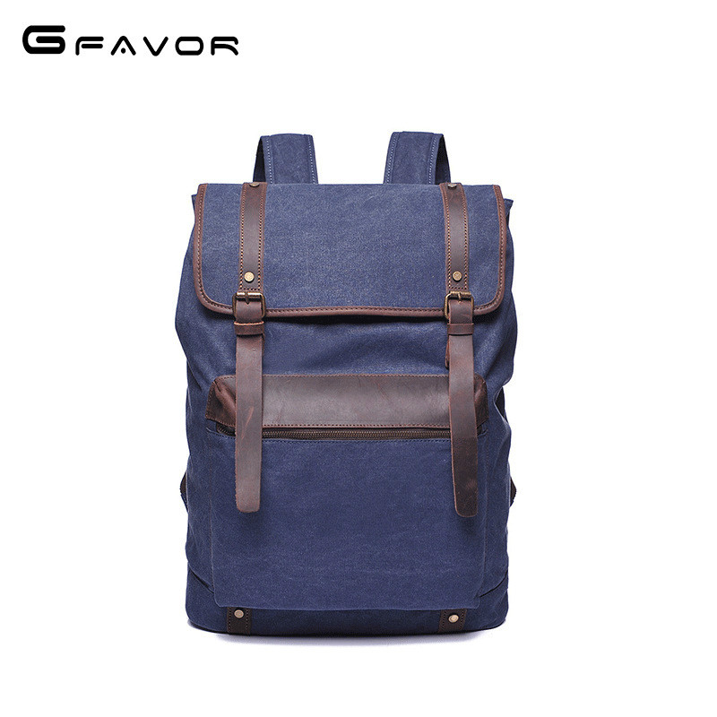2018 G-favor New Fashion Men's Backpack Vintage Canvas Backpack School Bag Men's Travel Bags Large Capacity Travel Backpack Bag best sellers canvas backpack classic fashion women s small fresh school bag travel bags large capacity travel backpack bag