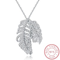 925 Sterling Silver Clear CZ Necklace For Women Leaf Necklace Pendant Chokers Collar Ladies Necklace Chains
