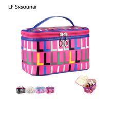 LF Sxsounai PU Letter Travel Waterproof Storage Bag Women Cosmetic underwear Washing Rose Red Portable bag Gift Fashion 2018