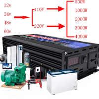 500 W-6000 W Puro Inverter A Onda Sinusoidale DC12V-60 V Per AC220V/110 V 50 HZ Convertitore di Potenza Booster Per Auto inverter