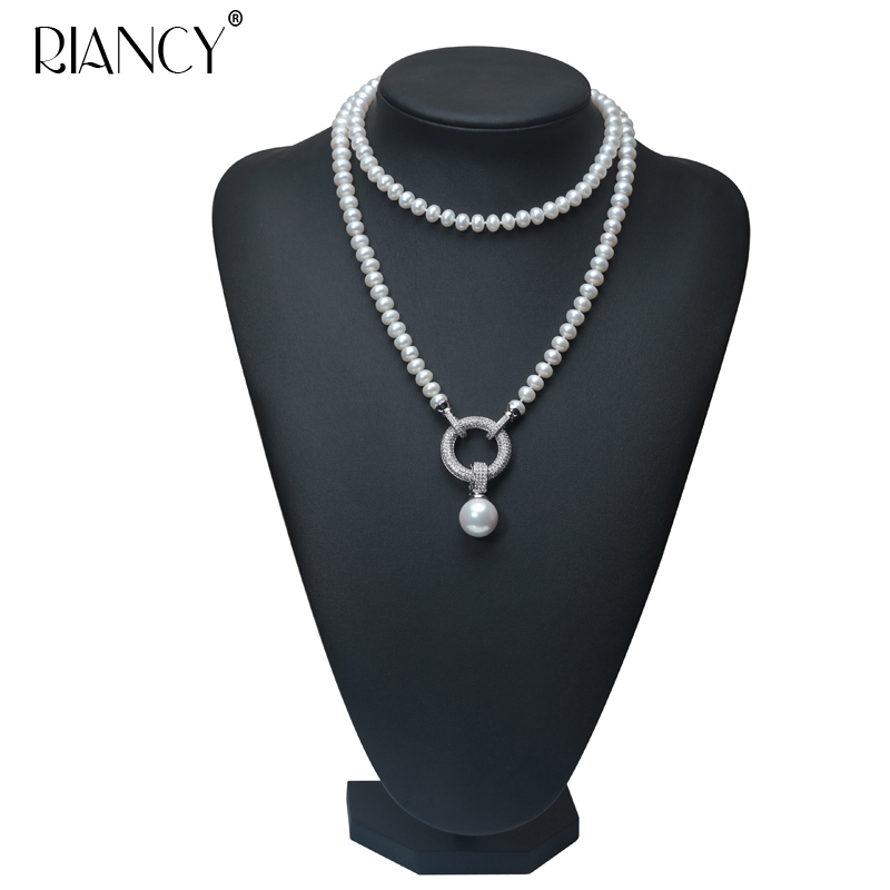 где купить Fashion high quality Long Necklace Natural Pearls Freshwater Pearls Jewelry For Wedding Women 900mm по лучшей цене