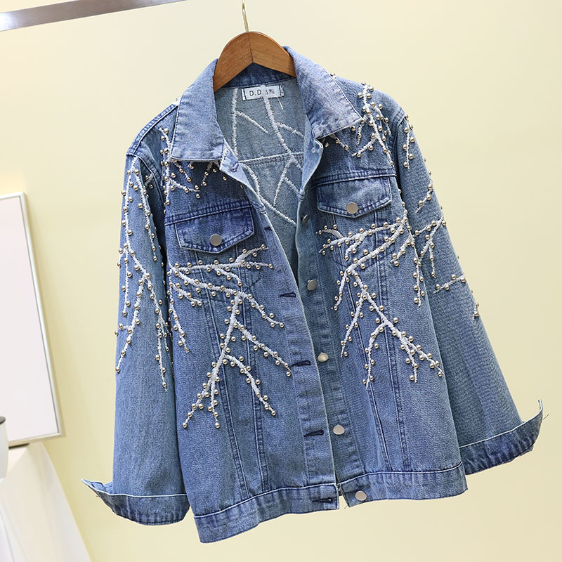 2019 Spring Autumn Cowboy Coat Female Heavy Craft Embroidery Rivet Denim Jacket Ladies Loose Casual Jeans Jackets Basic Outwear