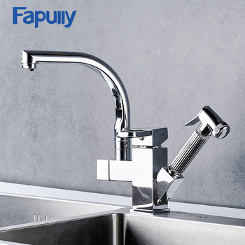 цена на Fapully Two Spouts Kitchen Sink Faucet Mixer Chrome Finish Single Handle Deck Mounted Pull Out Mixer Water Taps