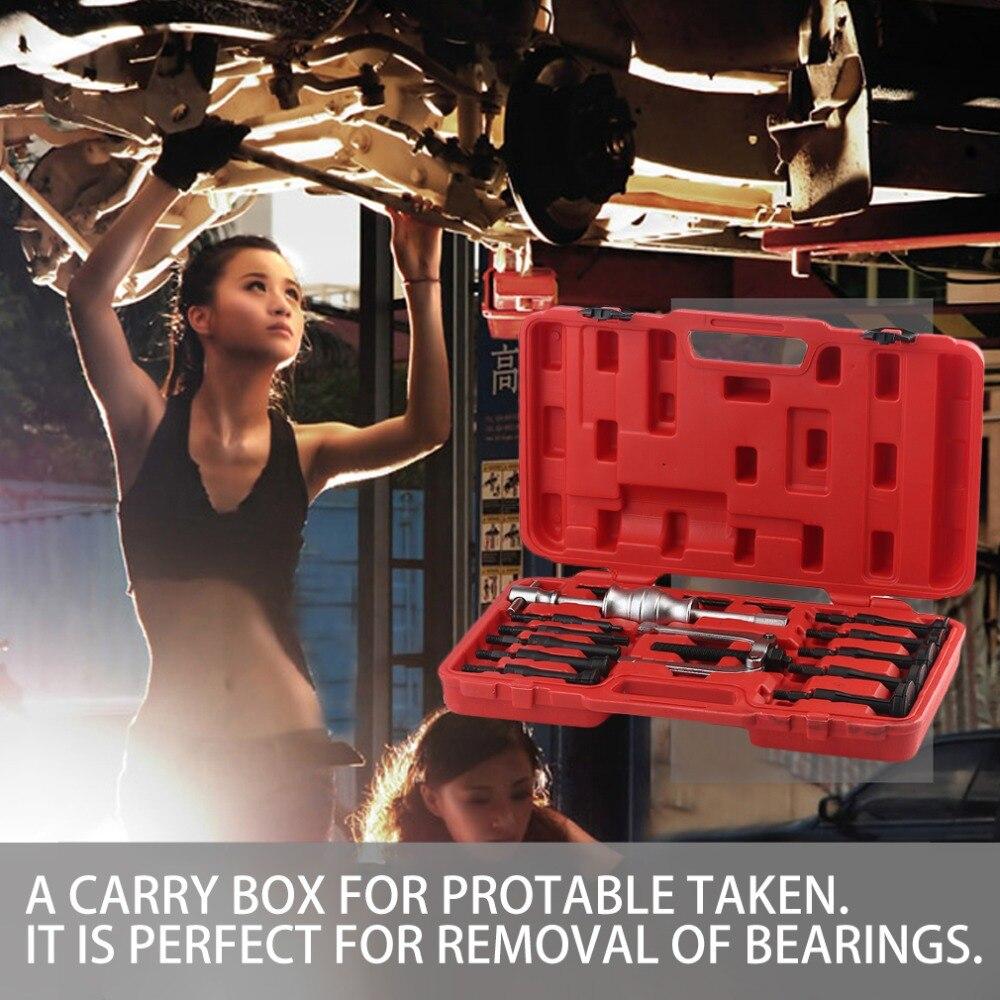 Boîte rouge 16 pièces professionnel trou intérieur toboggan marteau extracteur Kit enlèvement de roulement main outil ensemble moteur soin accessoire