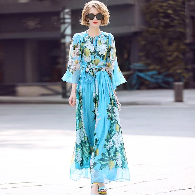 Elegant Floral Print Casual Bohemian Dress