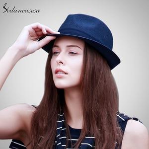 Image 3 - אופנה גברים פדורה כובעי קש לנשים איש חג חוף קיץ שמש כובע יוניסקס פשתן טרילבי כובעי סומבררו Hombre Verano מגניב