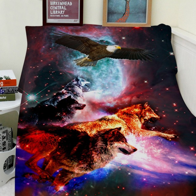 Blankets Warmth Soft Plush Colorful Galaxy Nebula Eagles Wolves