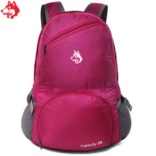 Купить с кэшбэком 30L Rose/Red/Green/Blue Foldable nylon hand bag  two functions camping hiking backpack bag travel camping bag