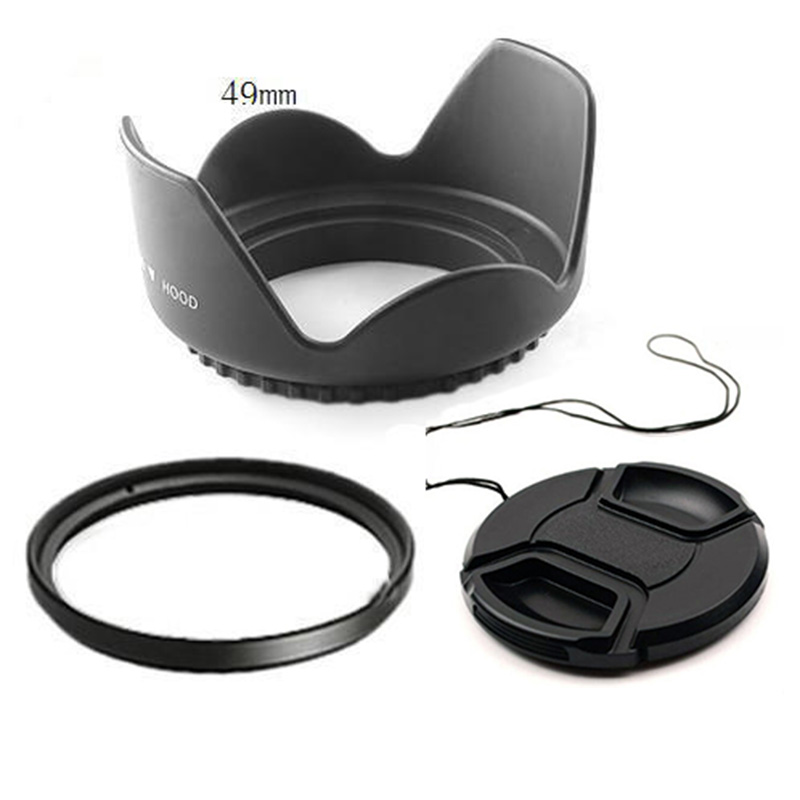 55mm camera Flower Lens Hood +UV Filter +Lens Cap for Sony 18-55,55-200,55-250 for canon nikon PK DSLR стоимость